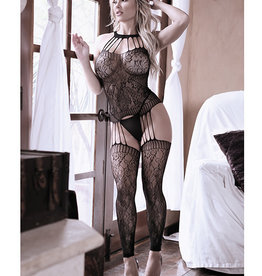 Fantasy Lingerie Sheer Fantasy Treasure w/in Strappy Halter Dress w/Attached Footless Stockings Black O/S
