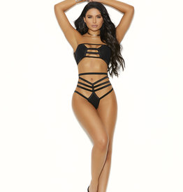 Elegant Moments Opaque Bandeau Top and Matching Thong Panty - One Size - Black