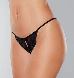 Allure Lingerie Adore Secrets Double Mini Bow Detail Open Back Lace Panty Black O/S