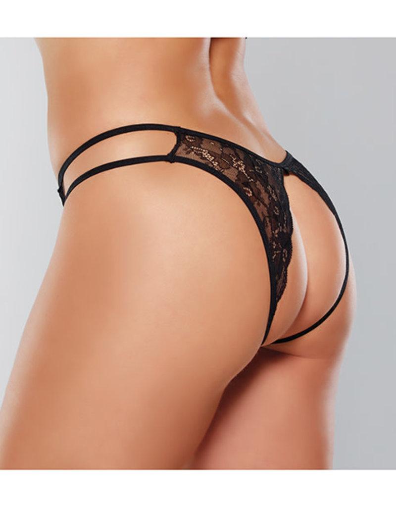 Allure Lingerie Adore Love Sick Open Lace Panty Black O/S