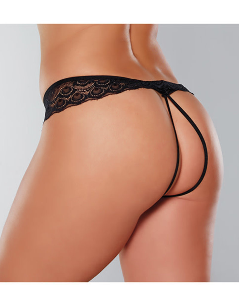 Allure Lingerie Adore Foreplay Lace & Mesh Front Open Panty Black O/S