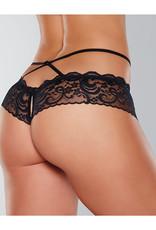 Allure Lingerie Adore Dare Me Cross Waist Open Lace Panty Black O/S