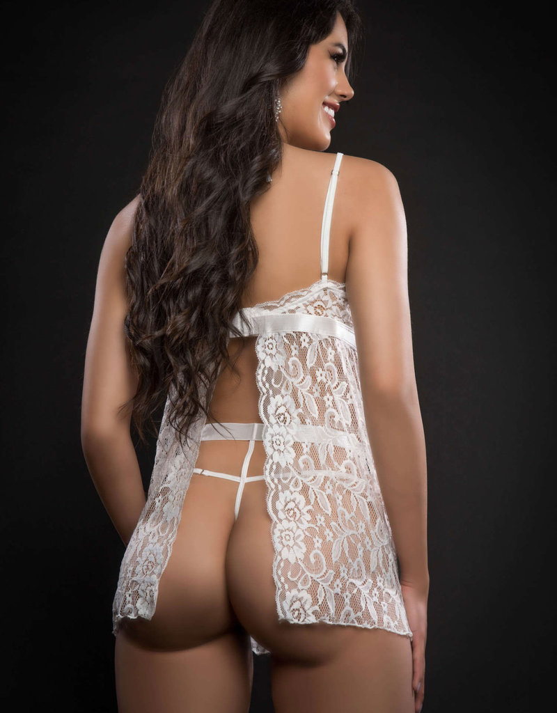 G World 2pc Strappy Halter Laced Babydoll With Side Slits and Open Back - One Size - White