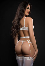 G World 4pc Caged Wired Bra and Garter Cut Out Cage Panty With Stocking - One Size - White