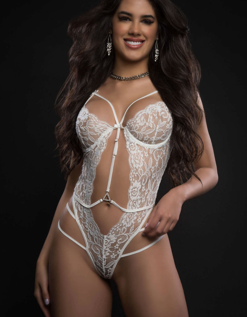 G World 1pc Floral Sheer Lace Plunge Teddy - One Size - White