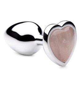 XR Brands Booty Sparks Booty Sparks Gemstones Rose Quartz Heart Anal Plug