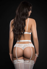 G World 3pc Lace Lingerie Set With Strappy Bra Cut Out Garter Cheeky Panty and Stockings - One Size - White