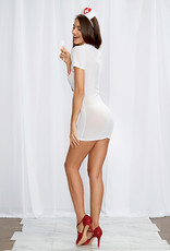 Dreamgirl 3 pc Stretch Mesh Chemise w/Front Zipper, Hat, & Stethoscope White/Red O/S