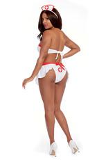 Dreamgirl 4 pc Nurse Strapless Tie Back Bra, Skirt, Panty & Cap White O/S
