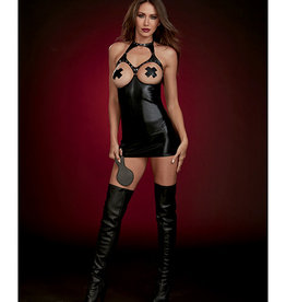 Dreamgirl Fetish Stretch Faux Leather Boob Out Chemise & Paddle Black O/S