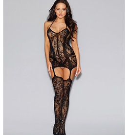 Dreamgirl Lace Fishnet Halter Garter Dress w/Opaque Bodice Lines, Halter Ties & Attchd Stkngs Blk O/S