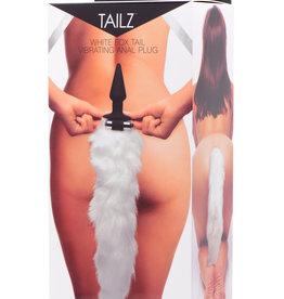 XR Brands Tailz White Fox Tail Vibrating Anal Plug