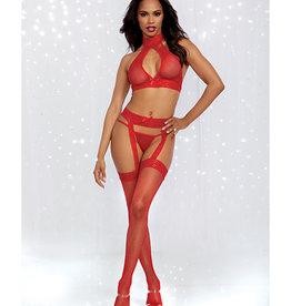 Dreamgirl Bodystocking Halter Bralette, Garter Pantyhose & G-String Rouge O/S
