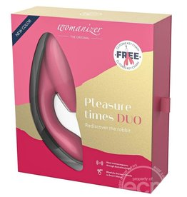 Womanizer Womanizer Duo Silicone Rechargeable Clitoral And G-Spot Stimulator - Raspberry