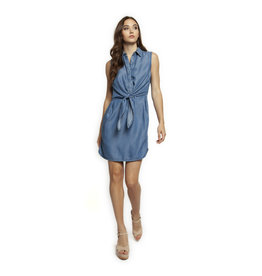 SLV/LESS SHIRT DRESS W/FRONT TIE