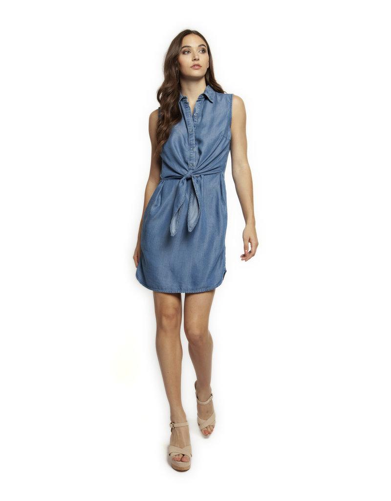 SLV/LESS SHIRT DRESS W/FRONT TIE