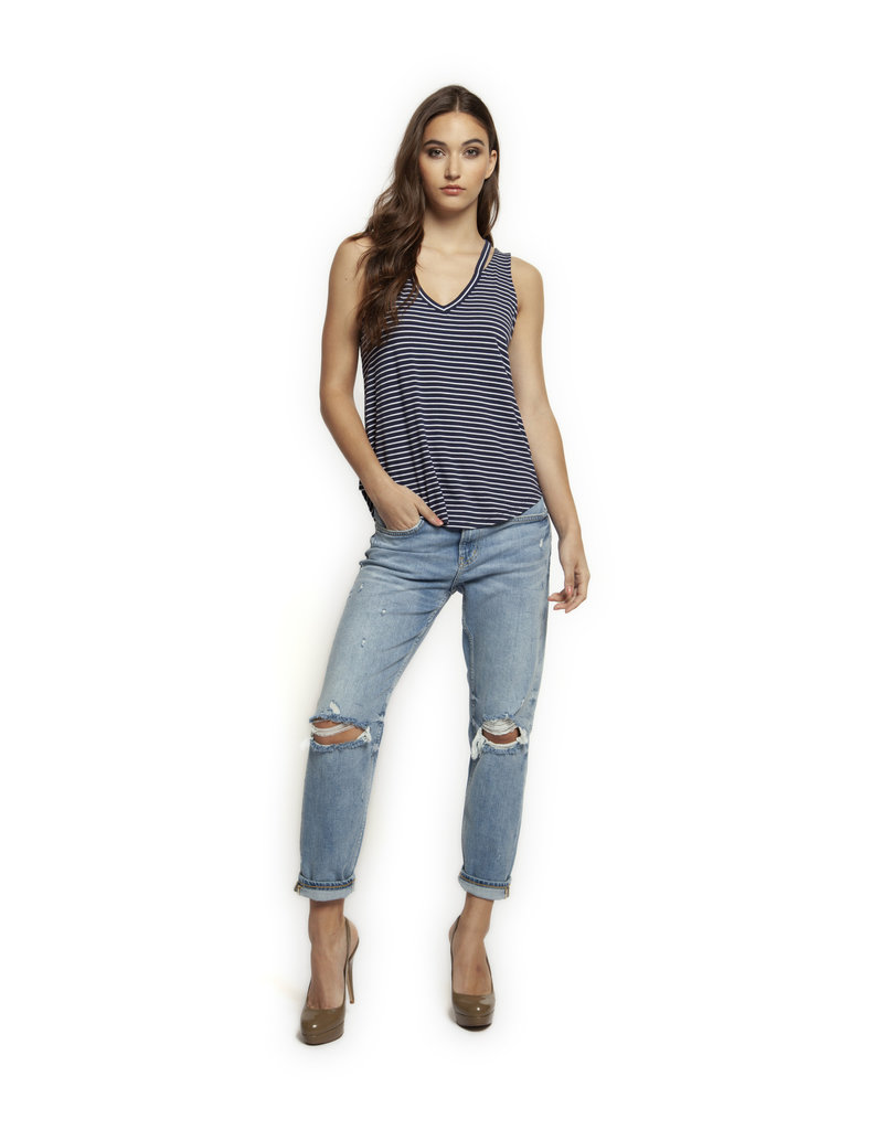 TANK TOP W/CUT OUT V-NECK