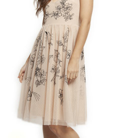 DEEP SCOOP NECK A-LINE DRESS W/EMBROIDERY DETAILS