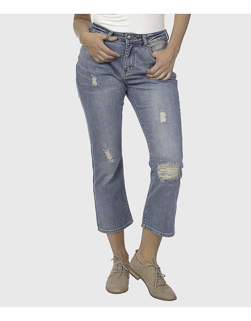 lola High Rise Gina  Comfort Fit Straight Crop (mom Jean)