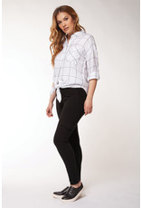 Dex L/SLV ROLL-UP BLOUSE W/KNOTTED HEM AND CHEST PKT