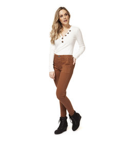 Dex MID RISE PANT W/SEAM DETAIL AND BUTTONED TABS