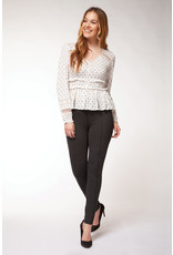 Dex L/SLV V-NECK TOP W/LACE AND BUTTON DETAIL
