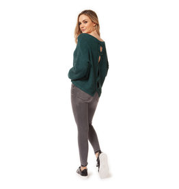 Dex L/SLV SCOOP NECK SWEATER W/SPLIT BACK DETAIL