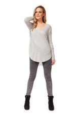 Dex L/SLV V-NECK LOOSE TOP W/RIBBED CUFFS AND HEM