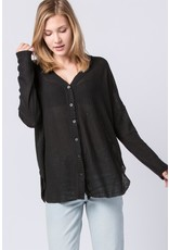 Spotted Gecko Waffle Knit Long Sleeve Thermal Button Top