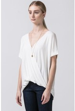 Spotted Gecko Cross Over Knit Rayon Crepe Top