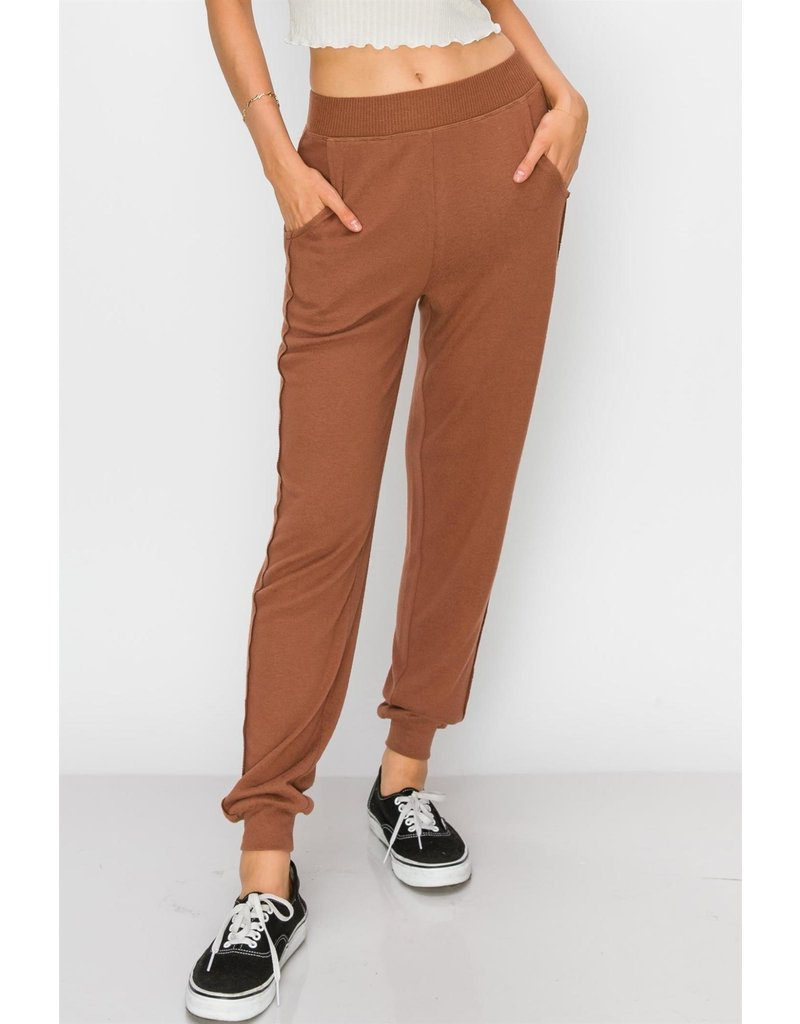 Spotted Gecko Knit Rayon Jogger with Contrast Leg
