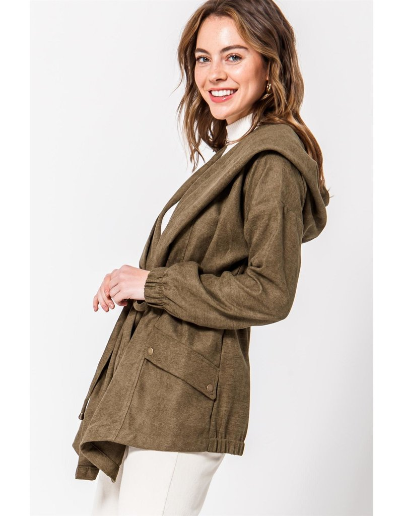Spotted Gecko Woven Jacket With Tie