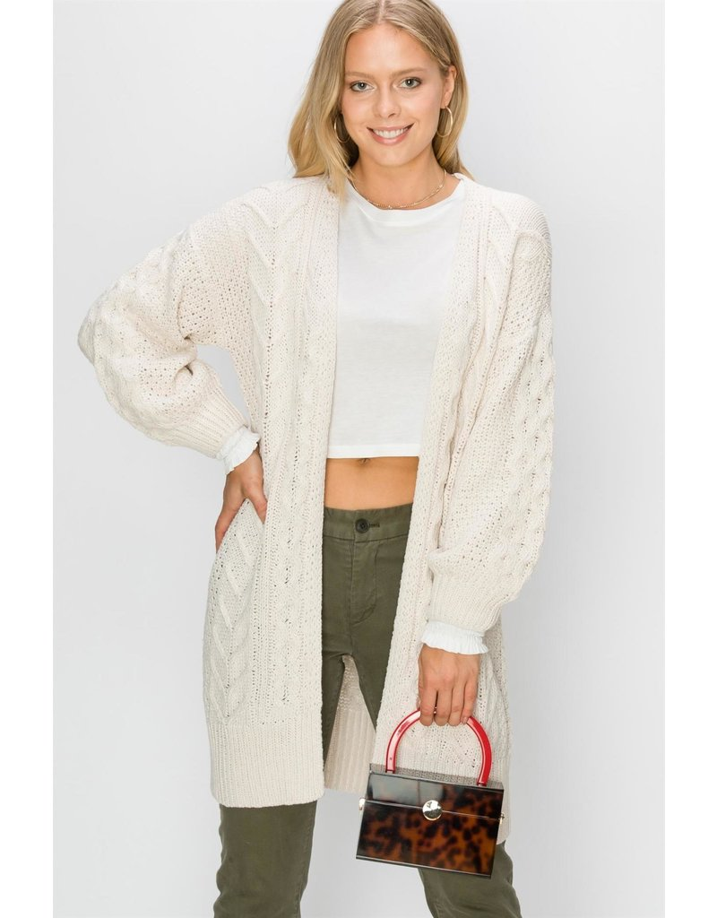 Spotted Gecko Cable Knit Long Cardigan