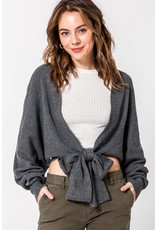 Spotted Gecko Short Charcoal Cardigan with Tie
