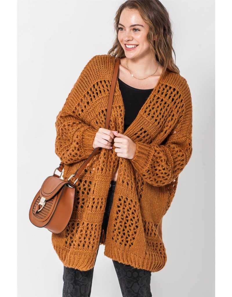 Spotted Gecko Loose Knitted Brown Oversized Cardigan