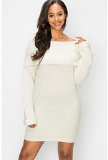 Spotted Gecko Knitted Off Shoulder Dress / Tunic