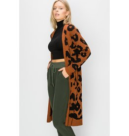 Spotted Gecko Rust Colored Animal Print Cardigan