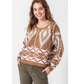 Spotted Gecko Camel Pullover Aztec Knitted Sweater