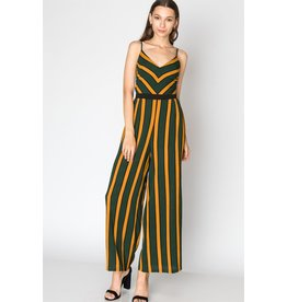 Spotted Gecko Hunter Green Striped Romper