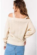 Spotted Gecko Cream Cold shoulder Knitted sweater