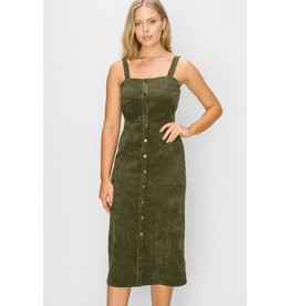 Spotted Gecko Olive Corduroy Snap Dress