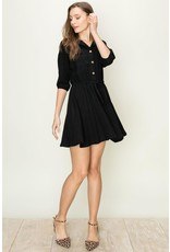 Spotted Gecko Rayon Shirt Dress with Tie At Waist