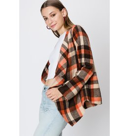Spotted Gecko Plaid Woven Cardigan Jacket Waterfall Cardigan