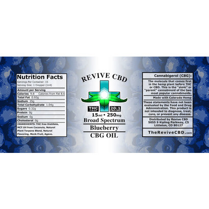Revive CBD 15mL CBG Oil (THC FREE/HIGH CBG) Blueberry