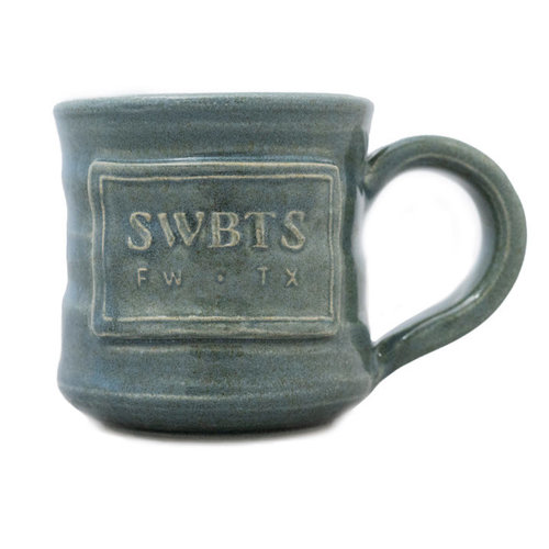 SWBTS Handmade Mug in grey glaze with image of SWBTS FW TX