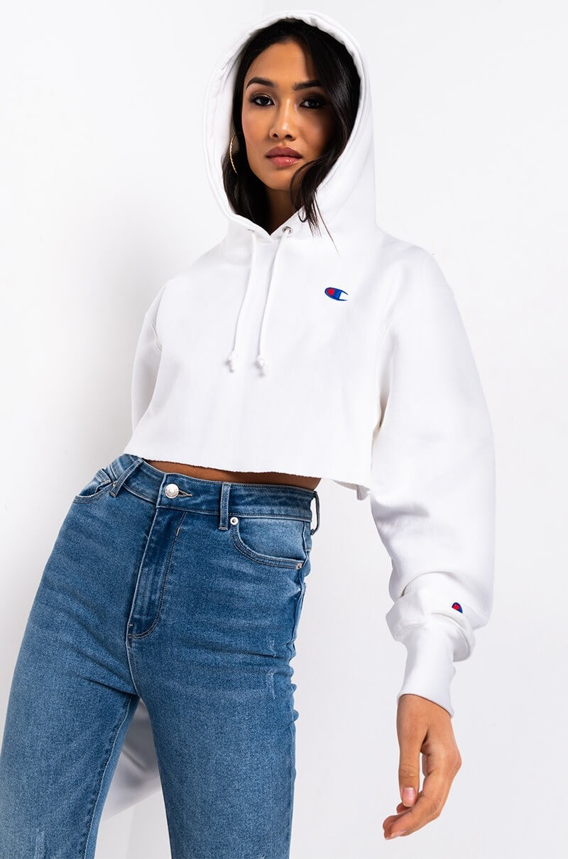 CHAMPION CHAMPION WOMENS REVERSE WEAVE CROPPED HOODIE