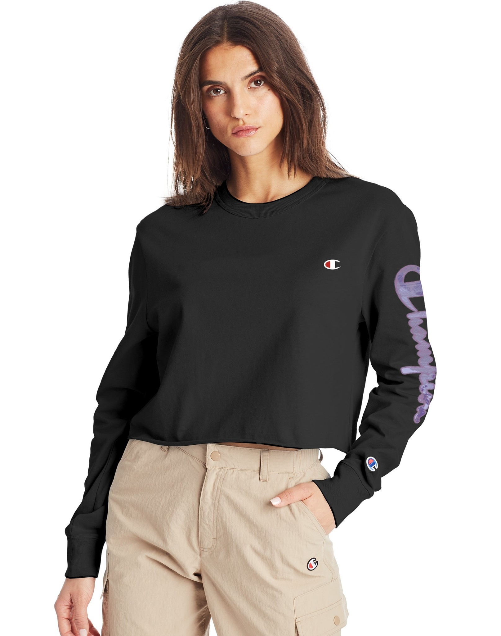 CHAMPION LONG-SLEEVE BOYFRIEND CROPPED TEE EMBROIDERED LOGO