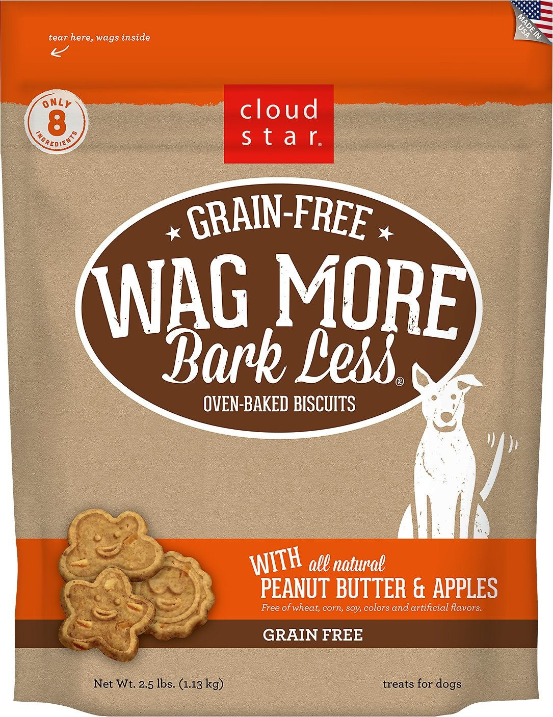 Cloud Star Wag More Bark Less Grain Free Baked Peanut Butter & Apple 2.5 lb Product Image