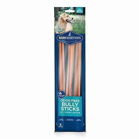 """Barkworthies Barkworthies Bully Stick Odor Free 3 Pack 12"""" Product Image"""