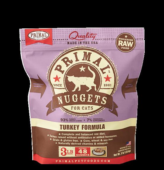 Primal Pet Foods Primal Cat Frozen Nuggets Turkey 3lb. Product Image